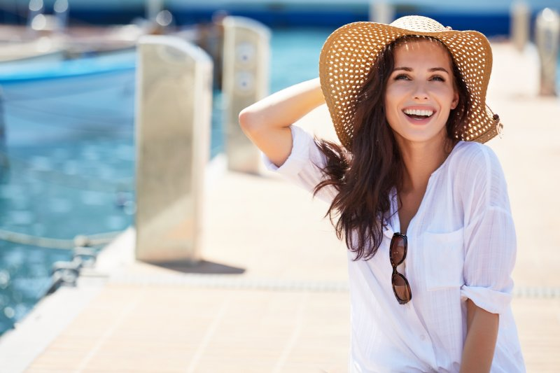 Smiling woman on vacation
